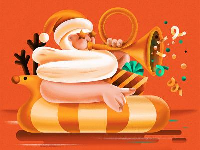 Santa gifts merry christmas music fun australia deer christmas santa sea flat character vector illustration