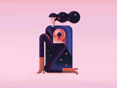 Ace magic digital god star ace women flat character vector illustration