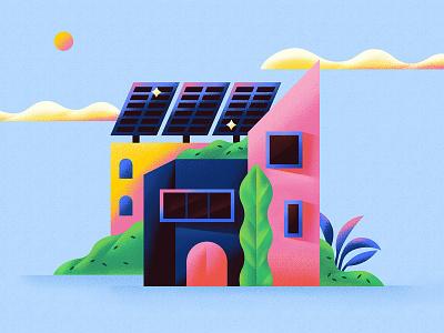 Building window solar panels build plant flat vector illustration