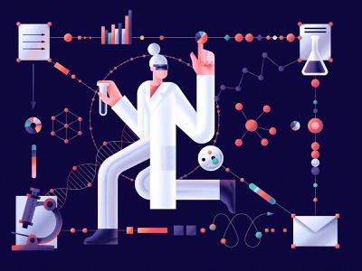 The science data data dna schemes chemistry science medical flat character vector illustration