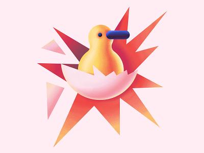 Duck digitalillustration digital cute duck egg character vector illustration