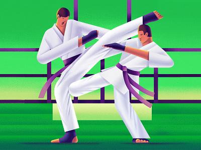Karate olympic games oli sport karate vector digital character illustration
