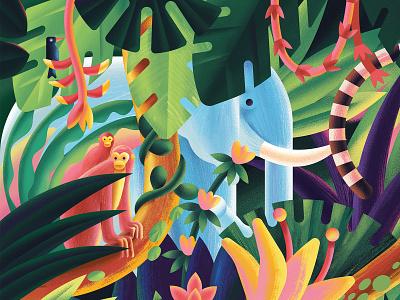 Jungle flower green elephant monkey forest nature plant jungle digital vector illustration