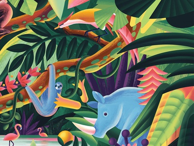 Jungle forest flower nature bird flamingo sloth rhinoceros river jungle plant digitalillustration digital illustration
