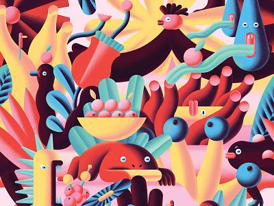 Endless forest fun animal plant fores digitalart digital pattern illustration