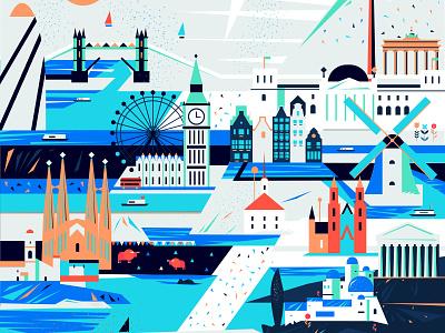 Europe town river greece germany netherlands spain london city europe design illustration