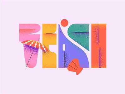 Beach graphicdesign web sea design summertime summer beach vector typography illustration