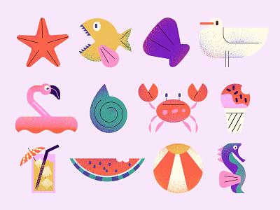Beach Icons icecream icons watermelon flamingo fish bird summer sea vector design character illustration