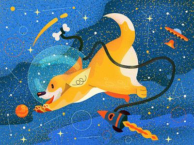 Corgi rocet ufo corgi planet star space dog vector character illustration