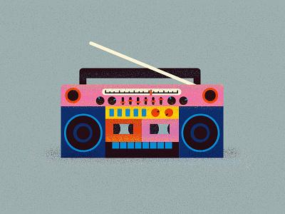 Record player cassette music sound color boombox 90s design retro vector illustration