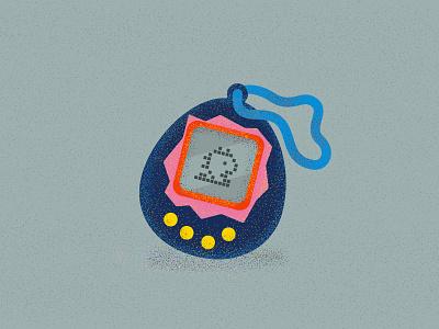 Tamagotchi toy 90s pixel dragon tamagotchi art vector illustration