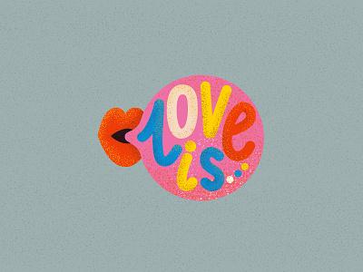 Love is lips typogaphy 90s gum love kiss character vector illustration
