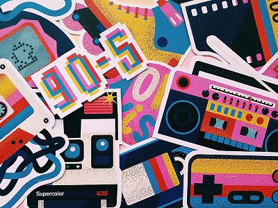 Stickers color retro 90s polaroid sticker design vector illustration