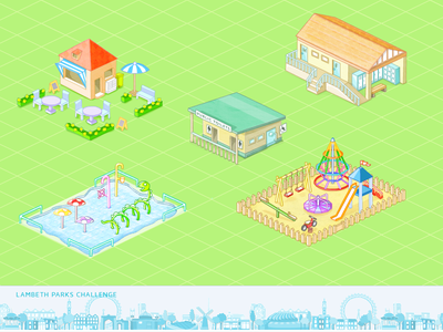 Lambeth Parks Challenge illustration animation isometric park buildings map
