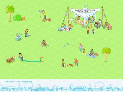 Lambeth Parks Challenge illustration animation isometric park people animals trees nature map