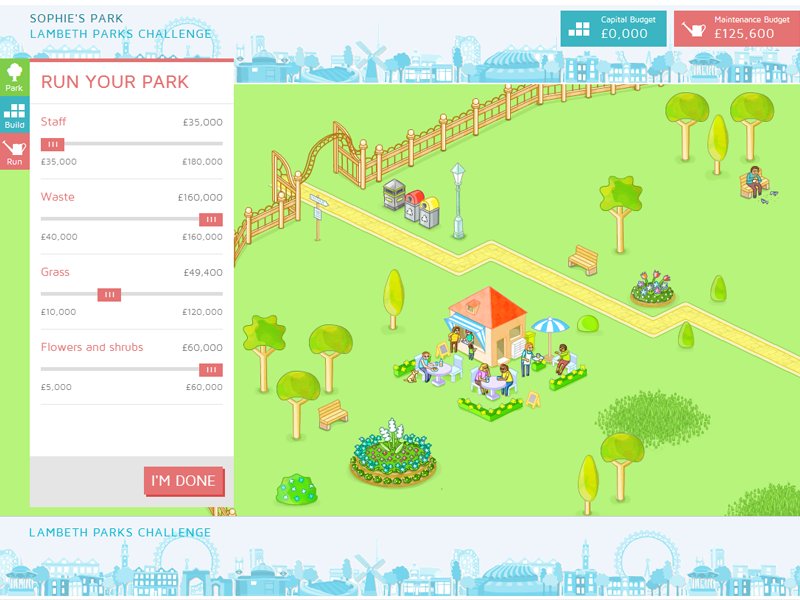 Lambeth Parks Challenge illustration animation isometric park nature app game map