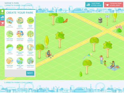 Lambeth Parks Challenge illustration animation isometric nature app park game map