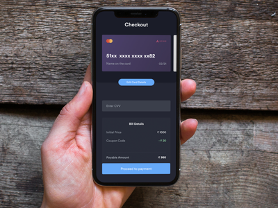 DailyUI Challenge Day 2 uxer amount bill card payment dark fast easy simple minimal checkout play ux ui web app ios android