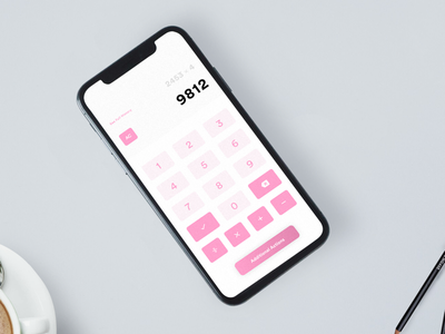 DailyUI Day 4 Challenge uxer challenge daily solve pink gradient easy simple clean minimalist t9 call numbers calculator web app ios android ux ui