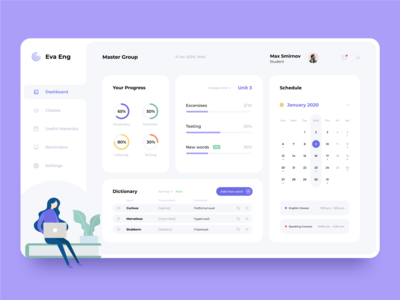 E-Lerning Dashboard lerning school clean minimal concept dashboard webapp app webdesign ux ui graphic design web
