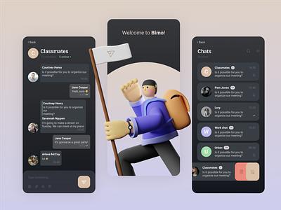 Bimo messenger concept landing page concept app webdesign ux ui banner graphic web design