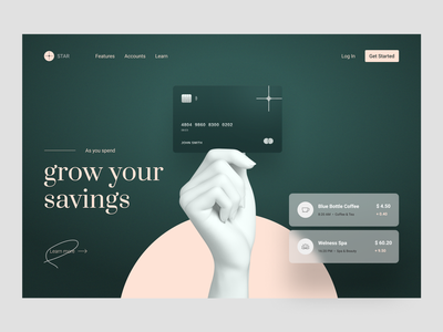 Main concept for selling the Debit Card green minimal app landing page banking concept webdesign graphic ui web design
