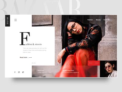Fashion page concept magazine ux fashion banner web typography landing page webdesign ui graphic design