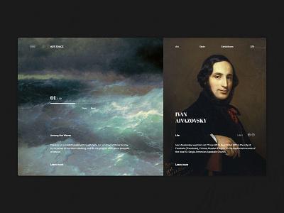 Art gallery concept page concept art gallery artist inspiration art webdesign ui web design