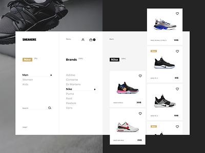 Sneakers shop filter page concept landing page webdesign ux ui web graphic design