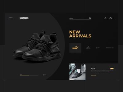 Sneakers Shop main page mobile concept landing page webdesign ux banner ui web graphic design