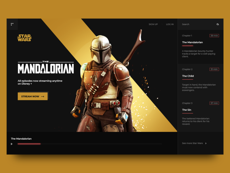 Main promo page of Mandalorian serial concept promo website concept webdesign interfase uiux ui website photoshop tv series tv animation landing page banner graphic design