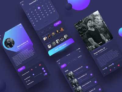 Night Club App Concept violet app mobile app design mobile app mobile ui ux mobile landing page banner design web