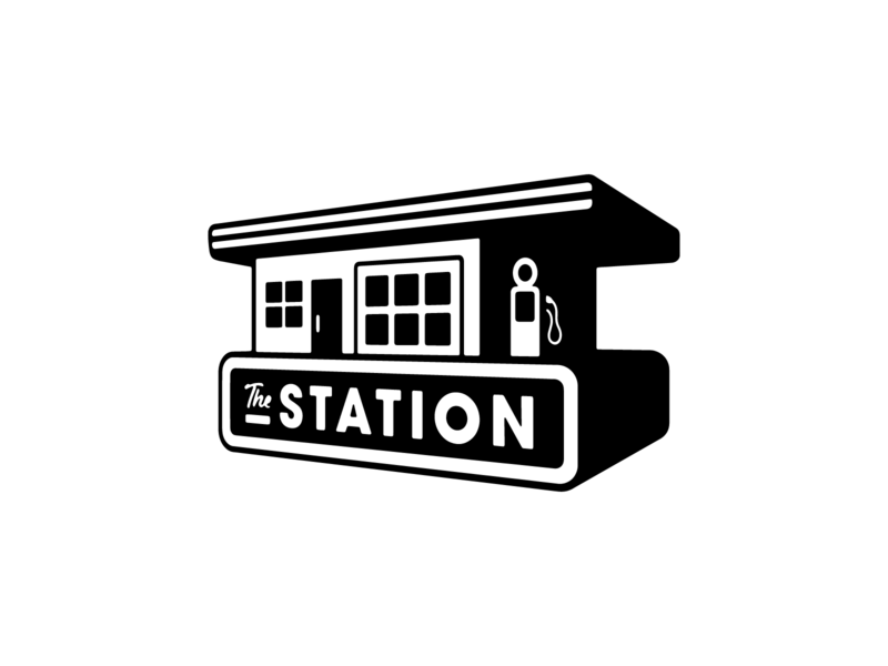 The Station illustrator flat minimal vector branding logo design illustration