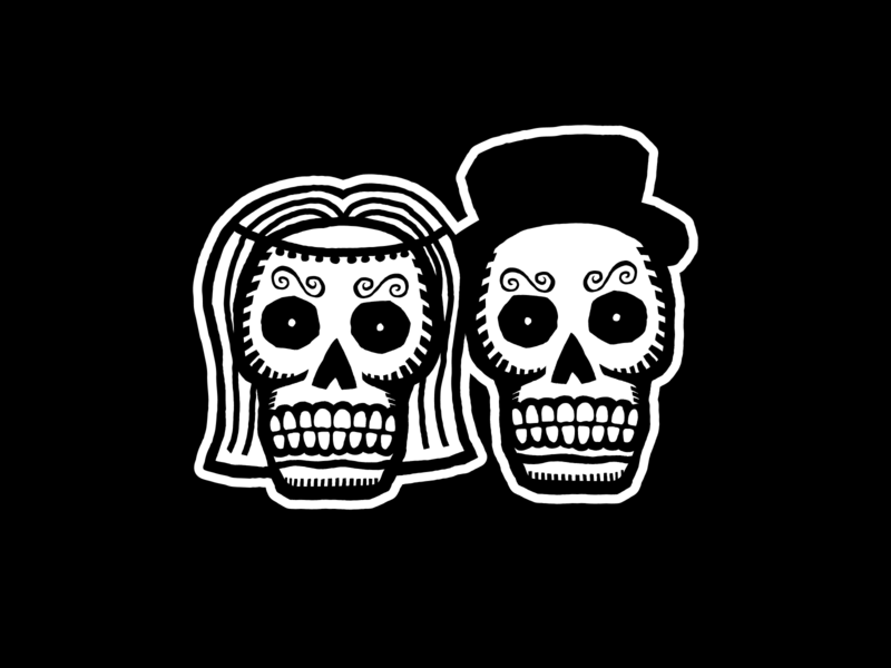 'Til death do us part halloween death skull dia de los muertos day of the dead wedding vector illustrator illustration design