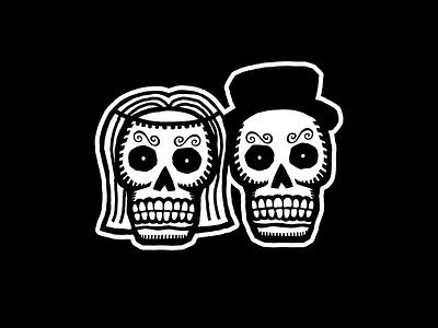 'Til death do us part halloween death skull dia de los muertos day of the dead wedding vector illustrator illustration design