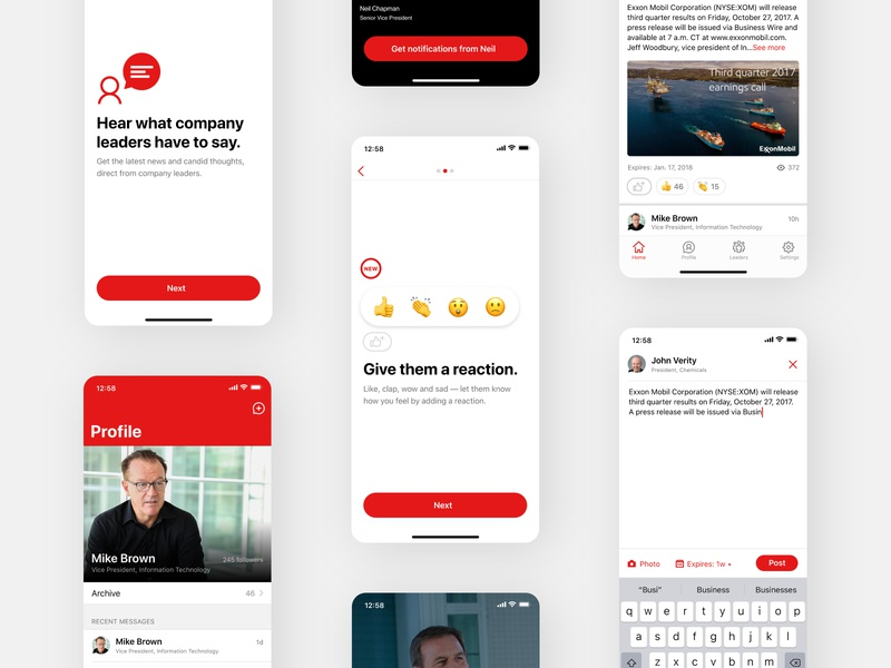 ExxonMobil™ • Direct from: ux mobile social emoji ios internal project corporate design adobe xd design ui