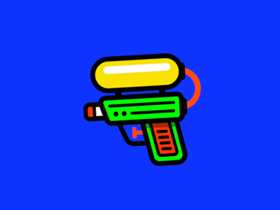 Pool Pistol super soaker summer pool apple motion animation sticker ios vector illustrator illustration design