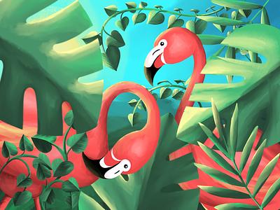 Flamingos leaves birds procreate art art colorful jungle minds flamingos flamingo illustraion procreateapp procreate