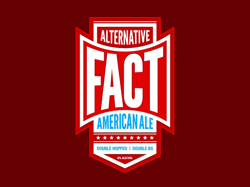Alternative Fact American Ale hops home-brew label typography