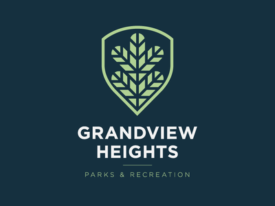 Grandview Heights Parks & Recreation Logo typography sans serif green branding recreation city shield icon leaf logo modern conservation park