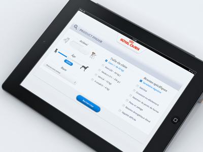 Product search UI canin royal app ios dog cat ipad ux ui royalcanin appdesign app design