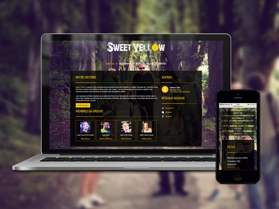Rock band website rock band rock webdesign web design responsive rwd yellow