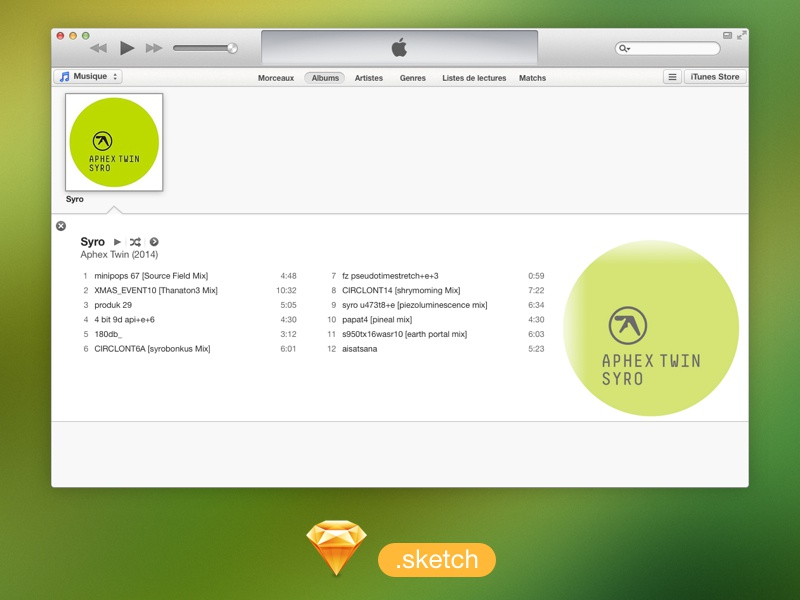iTunes UI free .sketch file itunes apple sketch freebies file ui music aphex twin design mac app osx