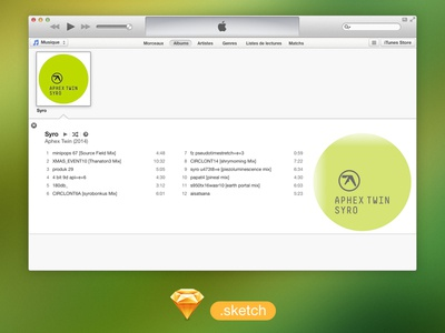 iTunes UI free .sketch file