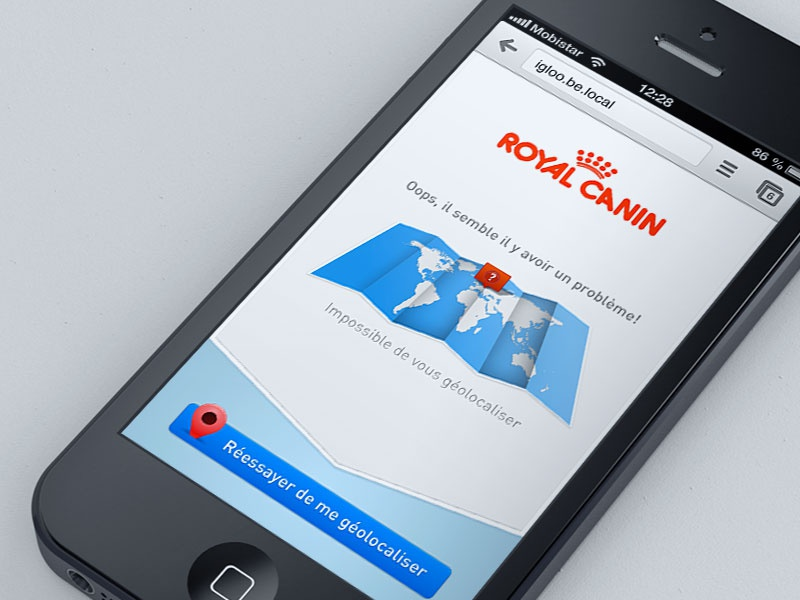 Royal Canin mobile application design ui interface map texture ios app iphone iphone5 retina royal canin royalcanin web app webapp geolocation error mobile design mobile