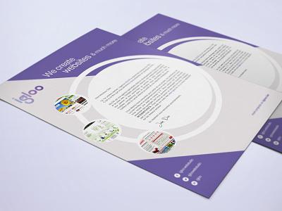 Letterhead Igloo identity branding purple grey news office print brand identity igloo letter letterhead corporate identity stationery