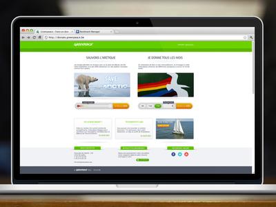 Greenpeace Belgian donation portal adobe fireworks fireworks greenpeace fund raising green website layout corporate webdesign web design ui ux mockup polar rainbow white ngo green peace ecology