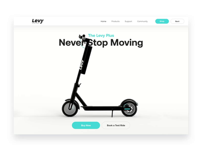 🛴💨Cheeky little concept for Levy Electric scooters octane c4d cinema4d scooter website ui animation