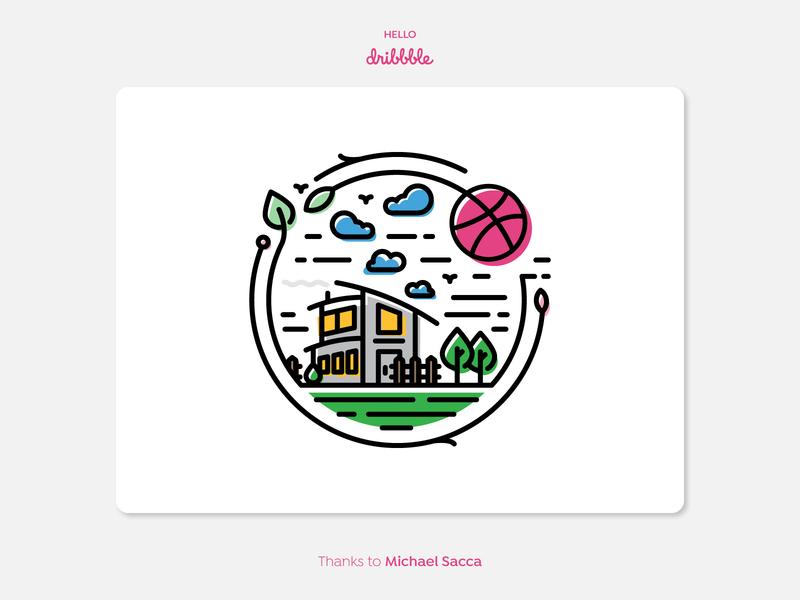 Hello Dribbble ! environment illustration design vector icon hellodribbble hello dribble debutshot debut