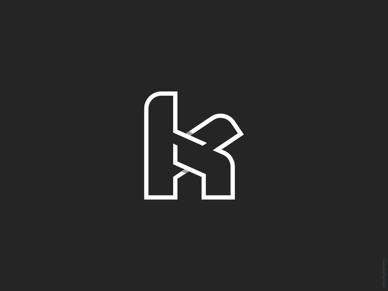 K H logo lettermark vector symbol modern logoground logo for sale logomark illustraion icon design branding house negativespace line shadow typogaphy lettering logo h k